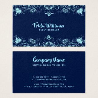 Himmel-blått elegant blommagräns visitkort