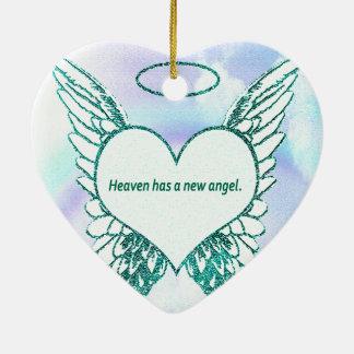 Himmel har en ny ängel julgransprydnad keramik