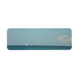 Himmel, sol och hav returadress etikett