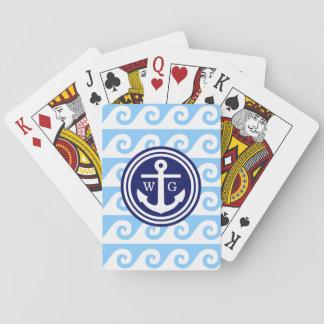 Himmelblått som marinblåa vita ankrar greknyckeln, spelkort