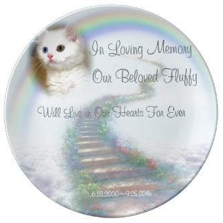 Himmelsk älsklings- minnesmärke för för trappakatt porslinstallrik
