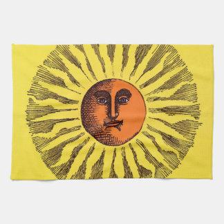 Himmelsk gul le lycklig Hippiesol för vintage Kökshandduk