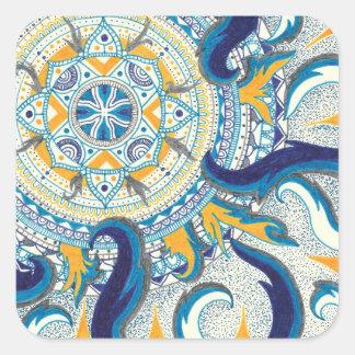 Himmelsk Mandala Fyrkantigt Klistermärke