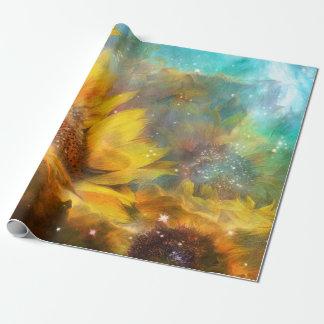 Himmelsk sjal för solroskonstgåva presentpapper