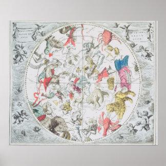 Himmelsk visning teckenet av zodiacen poster