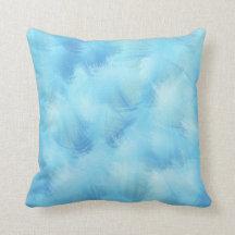Himmelska blåttfjädrar och luddabstrakt kudder dekorativ kudde