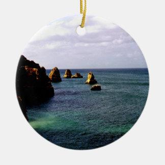 Himmelskt Portugal hav - kricka & Azure 2 sid Rund Julgransprydnad I Keramik