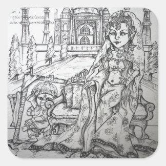 Hinduisk gudinna fyrkantigt klistermärke