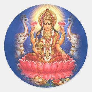 Hinduisk gudinna Laxmi Devi Mata Runt Klistermärke