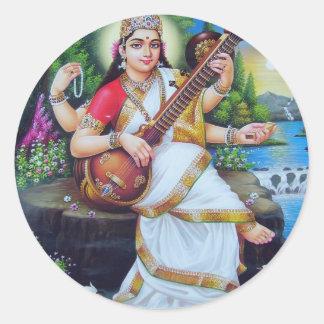 Hinduisk gudomserie runt klistermärke