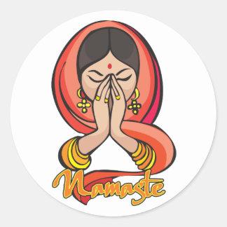 Hinduiska Namaste Runt Klistermärke
