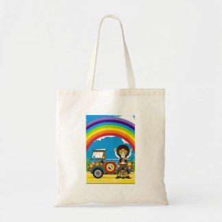 Hippie och skåpbil för tecknadSixtiesfred Tygkasse