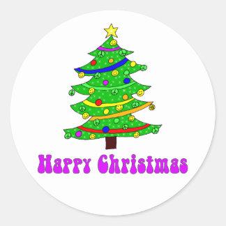 Hippies lycklig julgranrunda runt klistermärke