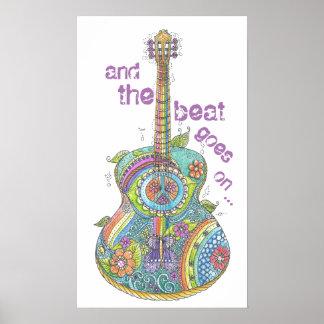 """Hippy gitarr 14"""" x 24"""" affisch"""