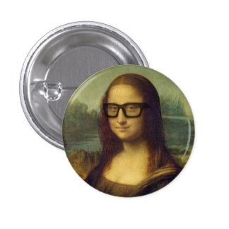 Hipster Mona Lisa i Hipsterexponeringsglas Da Mini Knapp Rund 3.2 Cm