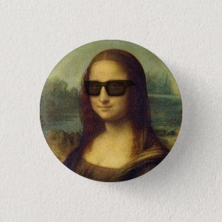 Hipsteren Mona Lisa i Hipster skuggar Da Vinci Mini Knapp Rund 3.2 Cm