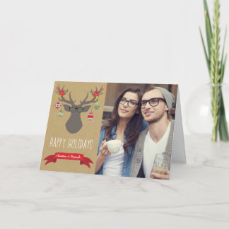 Hipster Glasses Happy Holiday Greeting Card