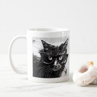 Hipsterkatt!  Svart katt med Oversized svart Kaffemugg