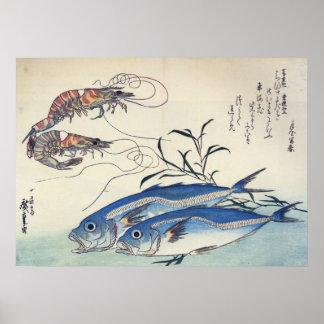 Hiroshige - häst Mackeral och räkor Poster