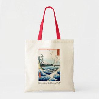 Hiroshige hav och Mount Fuji Tote Bags