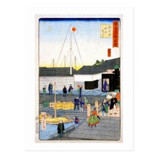 Hiroshige som Akashien överbryggar i Teppōzu Vykort