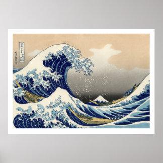 Hiroshige - underbaren vinkar av Kanagawa Poster