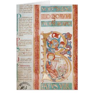 """Historiated initialt """"B"""" som visar kungen David Hälsningskort"""