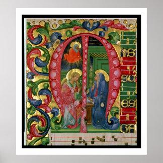 """Historiated initialt """"M"""" som visar annunciationen Poster"""
