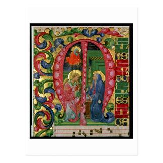 """Historiated initialt """"M"""" som visar annunciationen Vykort"""
