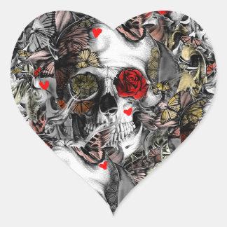 Historierepetitioner, blom- skallemönster hjärtformat klistermärke