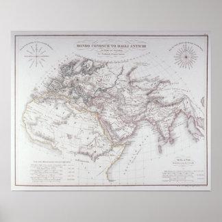 Historisk karta av den bekant världen poster