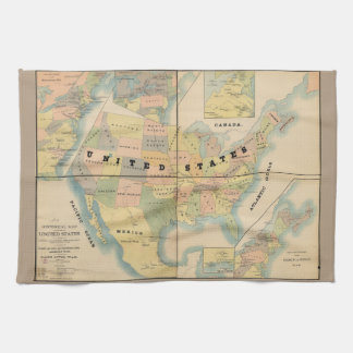 Historisk militär karta av Förenta staterna 1890 Kökshandduk