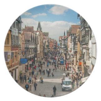 Historisk stad av Chester England United Kingdom Tallrik