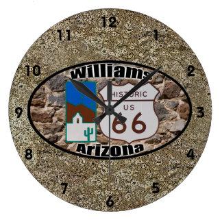 Historisk ~ Williams, Arizona för rutt 66 Stor Klocka