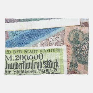 Historiska pengar kökshandduk