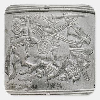 Hjälmfragment, från den Sutton Hoo skatten Fyrkantigt Klistermärke
