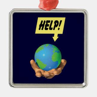 Hjälp jorden silverfärgad fyrkantigt julgransprydnad