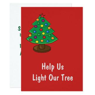Hjälp oss att tända vår julgran 14 x 19,5 cm inbjudningskort