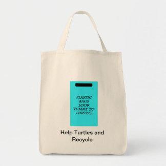 Hjälpsparasköldpaddor och återvinna mat tygkasse