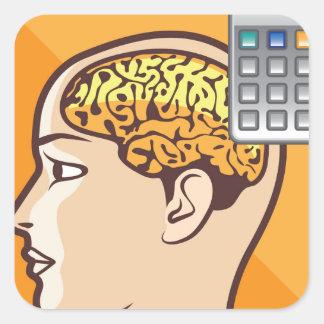 Hjärna och räknemaskin fyrkantigt klistermärke