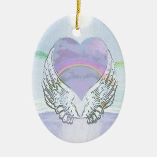 Hjärta, ängelvingar & hav julgransprydnad keramik