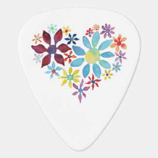 Hjärta av blommor gitarr pick