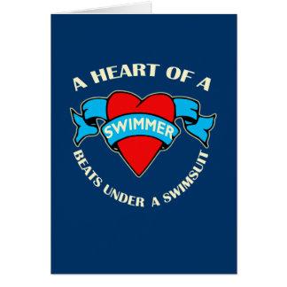 Hjärta av en simmare hälsningskort