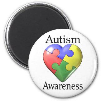 Hjärta för Autismmedvetenhetpussel Magnet Rund 5.7 Cm