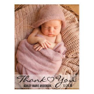 Hjärta för foto för tacknyfödd bebis modern vykort