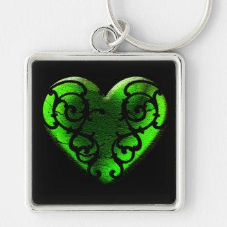 Hjärta för Goth St Patrick daggrönt Fyrkantig Silverfärgad Nyckelring