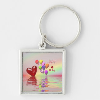 Hjärta för Juli födelsedagRuby Fyrkantig Silverfärgad Nyckelring