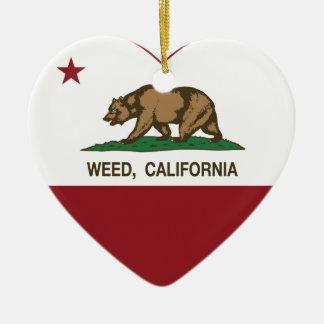 hjärta för Kalifornien flaggaogräs Julgransdekoration