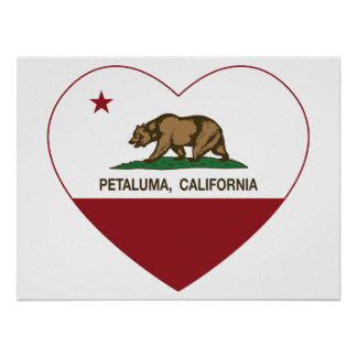 hjärta för Kalifornien flaggapetaluma Poster