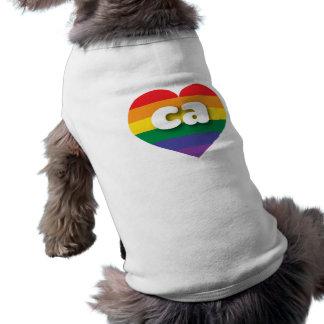 Hjärta för Kalifornien gay prideregnbåge - mini- Husdjurströja